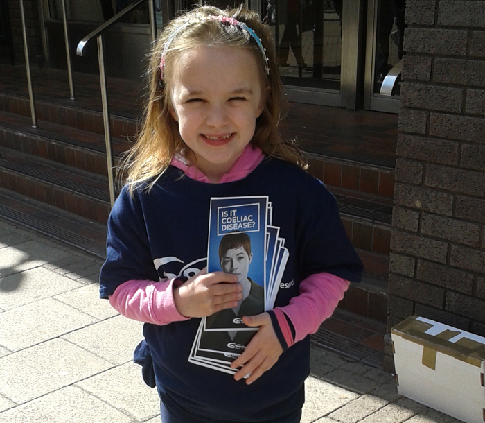 Lucy Armer, 6, leaflets for National Leafleting Day
