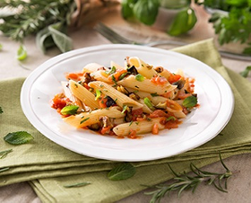 Penne with Fresh Mediterranean Vegetables and Aromatic Herbs