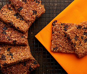 Gluten free coconut and sultana flapjack bars