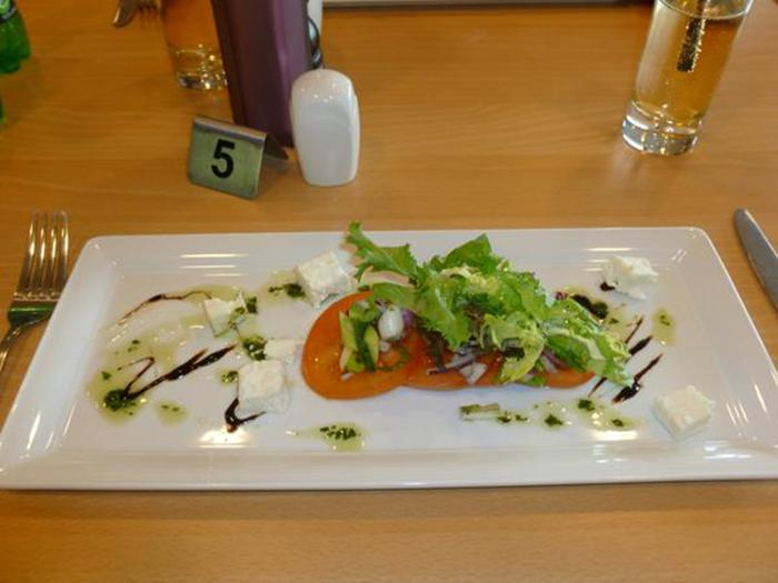 Forth Valley Group meal - Tomato and feta salad starter