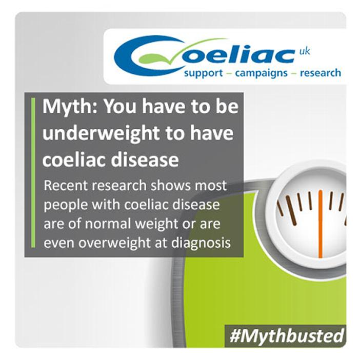 Myth: you have to be underweight to have coeliac disease