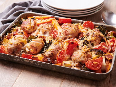 Home of Gluten Free Recipes Tray Bake Chicken with Vegetables, Chorizo and Cheese