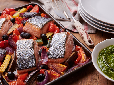 Home of Gluten Free Recipes Dinner        Ratatouille vegetables baked with salmon and fresh pesto